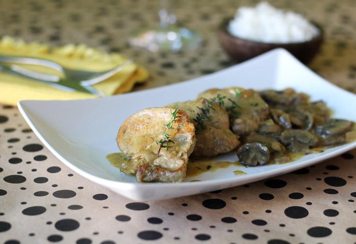 Ψαρονέφρι με μανιτάρια και σάλτσα μουστάρδας