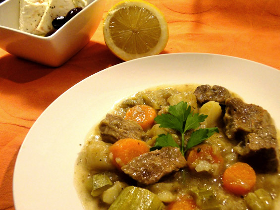 Μοσχάρι λεμονάτο με λαχανικά