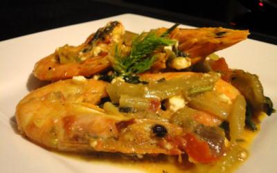 Γαρίδες σαγανάκι με φινόκιο