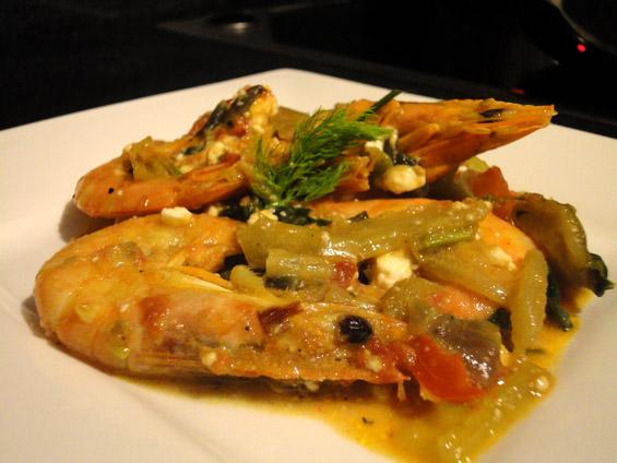 γαρίδες σαγανάκι με φέτα και φινόκιο