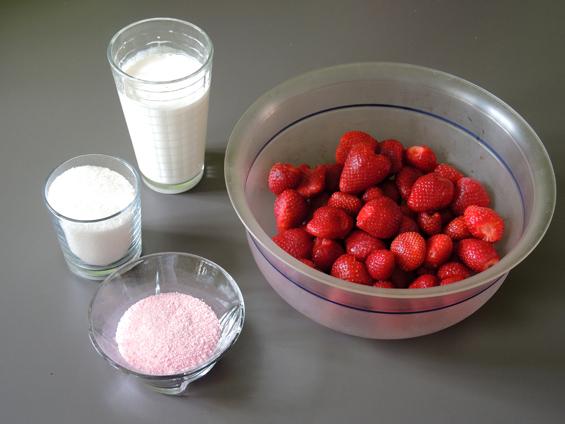 υλικά για πάγωτο φράουλα