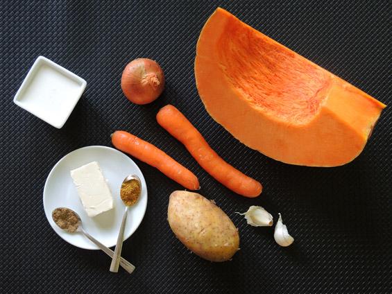 υλικά για σούπα κολοκύθας βελουτέ