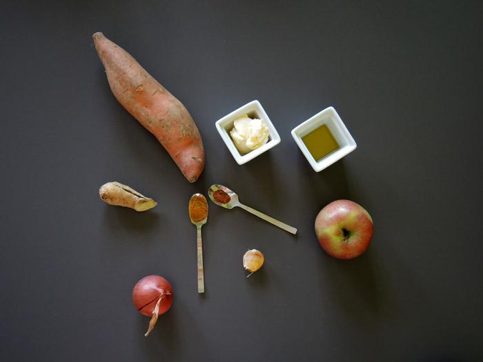υλικά για σούπα με γλυκοπατάτα κ σος μήλου