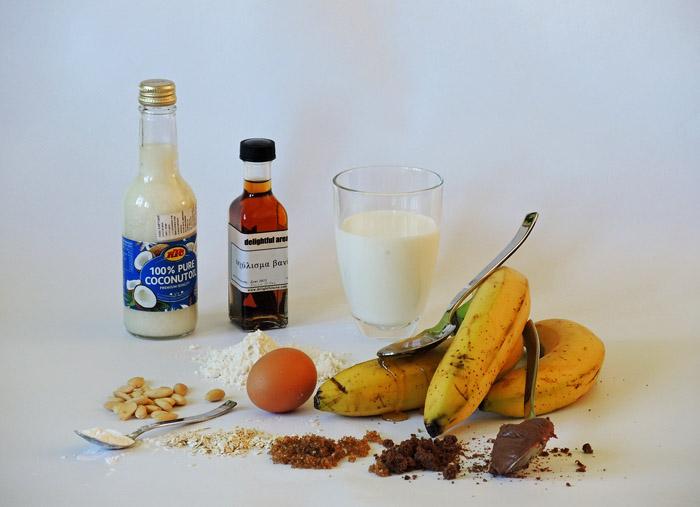 υλικά για banana bread με βρώμη
