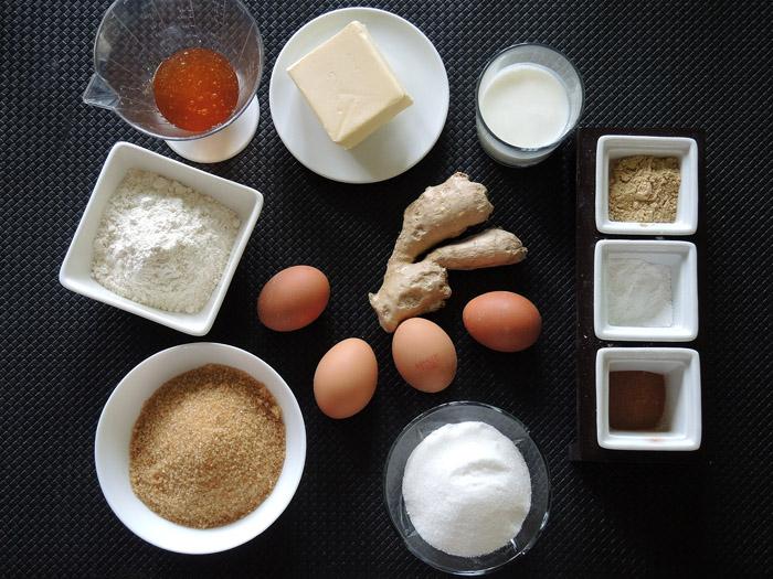 υλικά για κέικ με τζίντζερ
