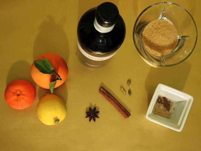 υλικά για ζεστό κρασί με μπαχαρικά