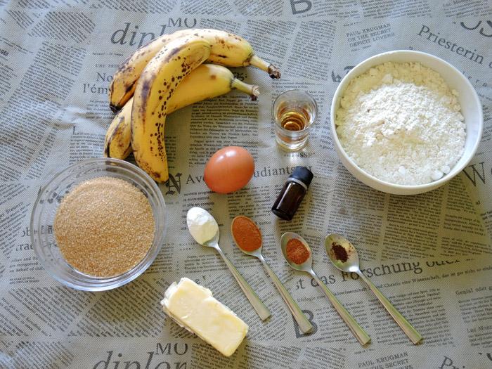 υλικά για μπανανοψωμο με μπαχαρικά