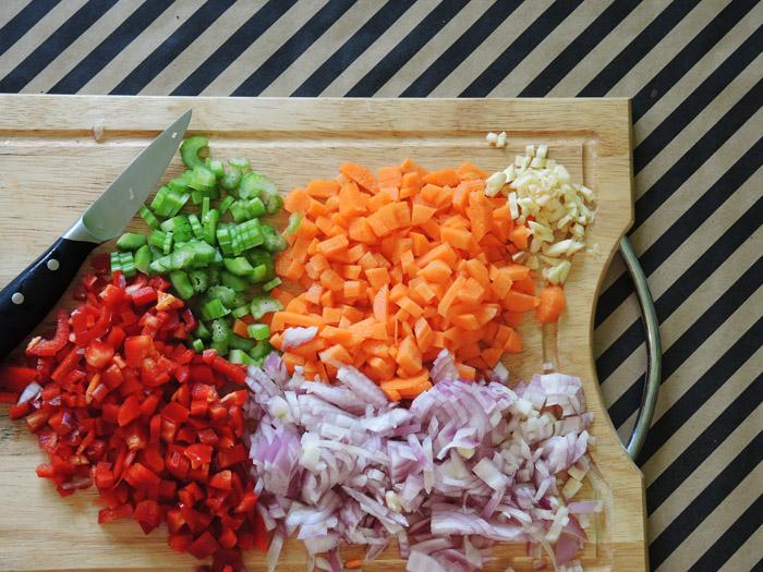 ψιλοκομμένα λαχανικά