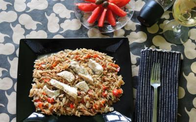Κριθαρότο με μανιτάρια και κοτόπουλο