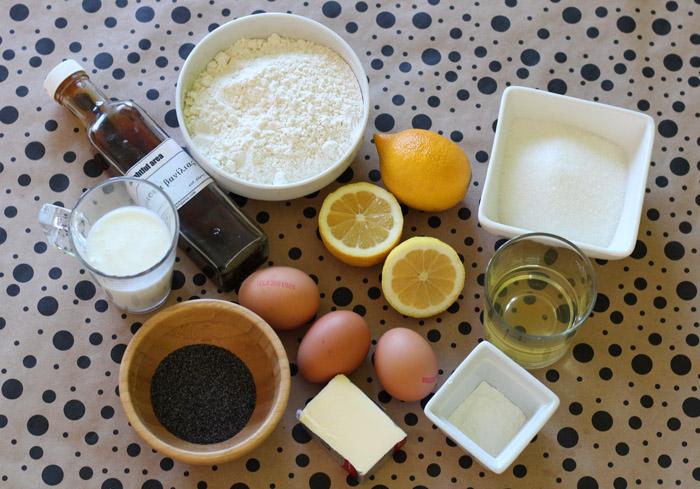 υλικά για κέικ λεμονιού με παπαρουνόσπορο