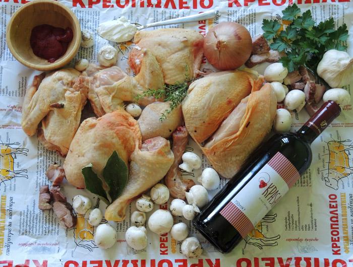 υλικά για κόκκορα κρασάτο