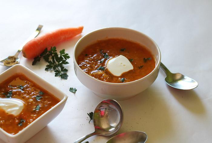 σούπα με κόκκινες φακές, τζίντζερ και κύμινο