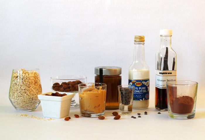 υλικά για μπάρες βρώμης χωρίς ψήσιμο