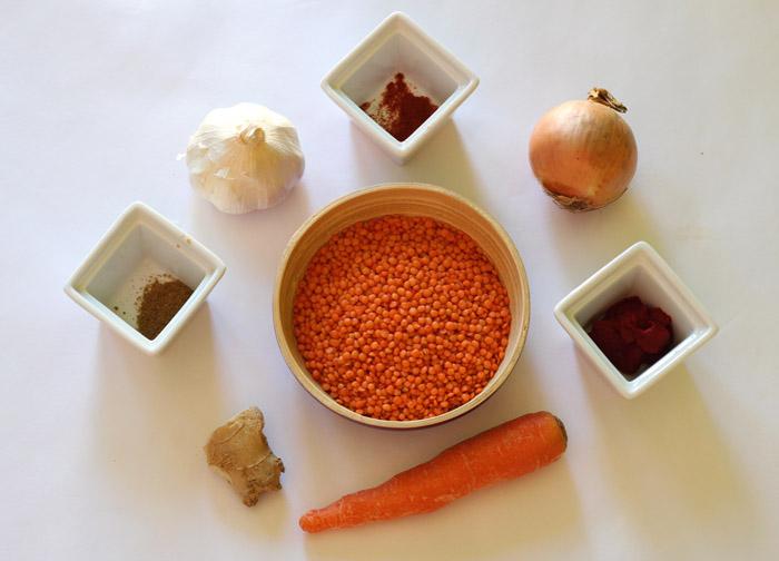 υλικά για σούπα με κόκκινες φακές 1