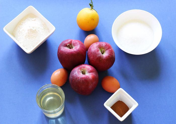 υλικά για κέικ μήλου