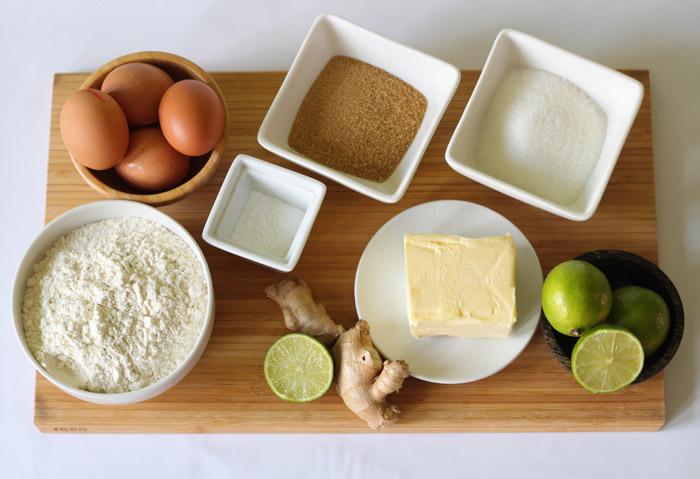 υλικά για κέικ με λάιμ και τζίντζερ