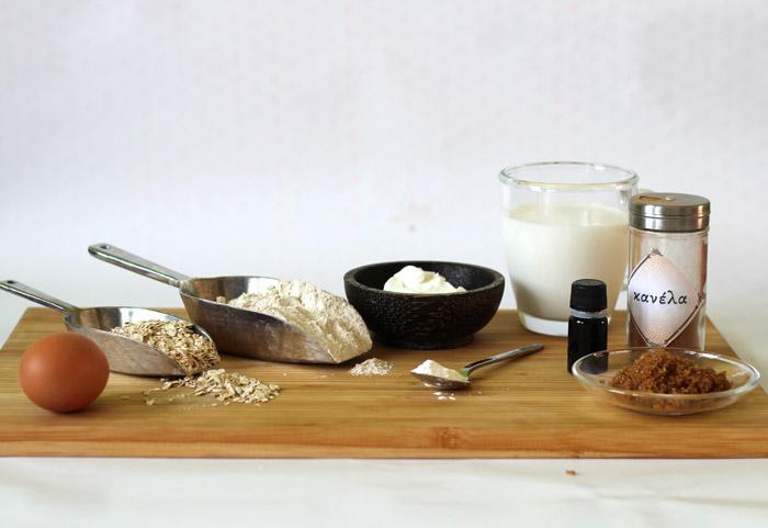 υλικά για pancakes με βρώμη