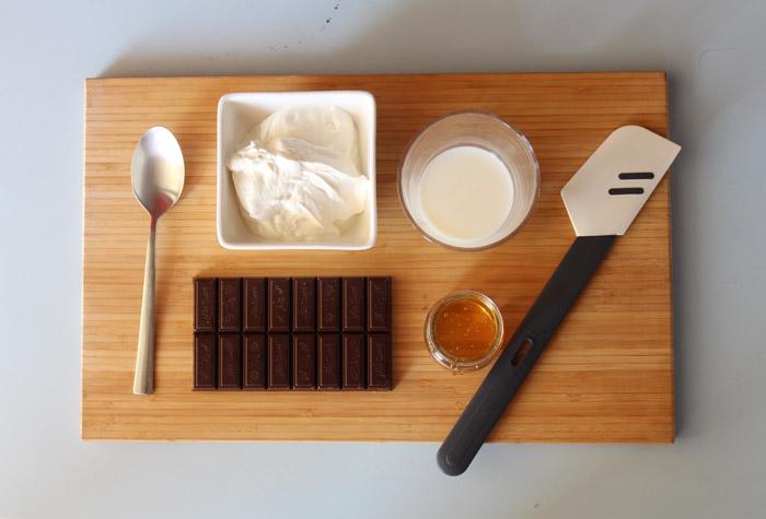 υλικά για σοκολατένια κρέμα με γιαούρτι
