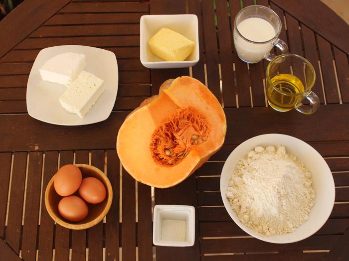 υλικά για ζυμαρόπιτα με κολοκύθα
