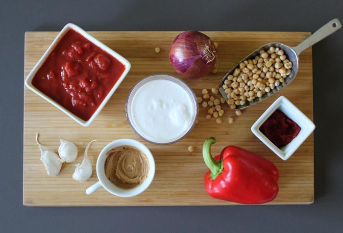 υλικά για ρεβίθια με ντομάτα και γάλα καρύδας