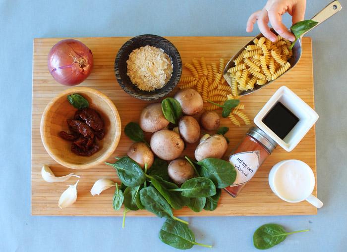υλικά για βίδες με μανιτάρια και γάλα καρύδας