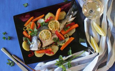 Τσιπούρες με λαχανικά στο φούρνο