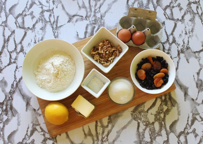 υλικά για biscotti με ξερά φρούτα
