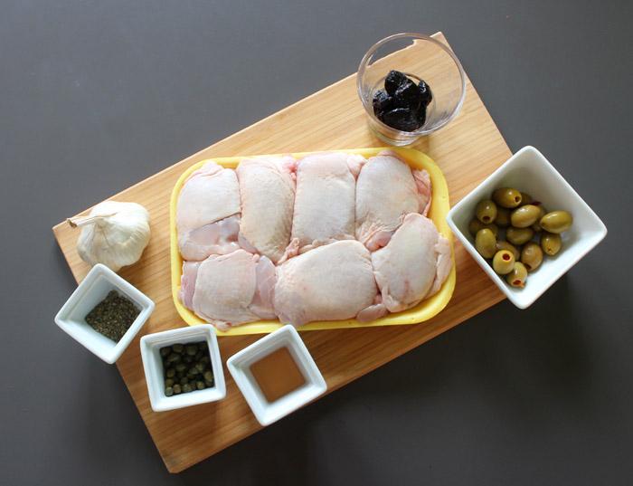 υλικά για μπούτι κοτόπουλο με δαμάσκηνα και ελιές